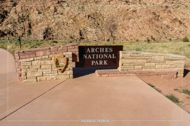 Entrance Sign in Arches National Park in Utah