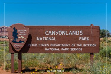 Needles Entrance Sign in Canyonlands National Park in Utah