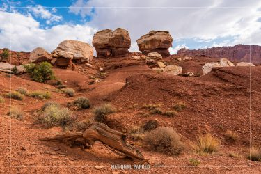 Twin Rocks in Capitol Reef National Park in Utah