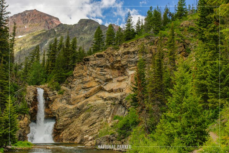 Running Eagle Falls in Glacier National Park in Montana