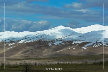 Dune Field in September Snow in Great Sand Dunes National Park in Colorado