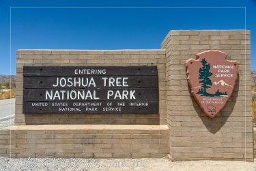 South Entrance Sign in Joshua Tree National Park in California