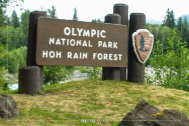 Hoh Entrance Sign in Olympic National Park in Washington