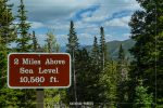 2 Mile Elevation Sign on Trail Ridge Road in Rocky Mountain National Park in Colorado