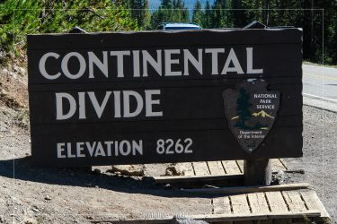 Continental Divide Sign in Yellowstone National Park in Wyoming