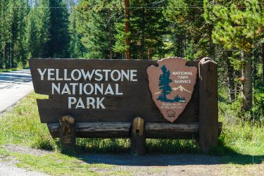 Northeast Entrance Sign in Yellowstone National Park in Wyoming