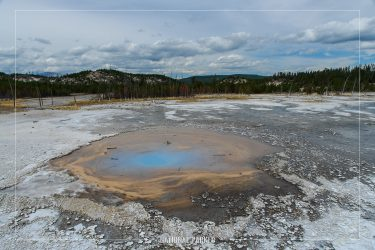 Pearl Geyser in Yellowstone National Park in Wyoming