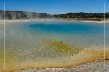Sunset Lake in Yellowstone National Park in Wyoming
