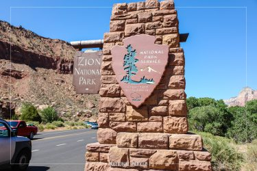 South Entrance Sign in Zion National Park in Utah
